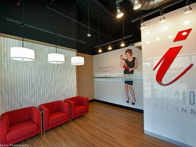 Lobby with Wave Wall and Red Chairs at i-Studio Rialto Mall