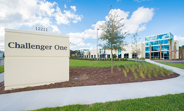 Challenger One View from the Road with the Building Sign in Central Florida Research Park
