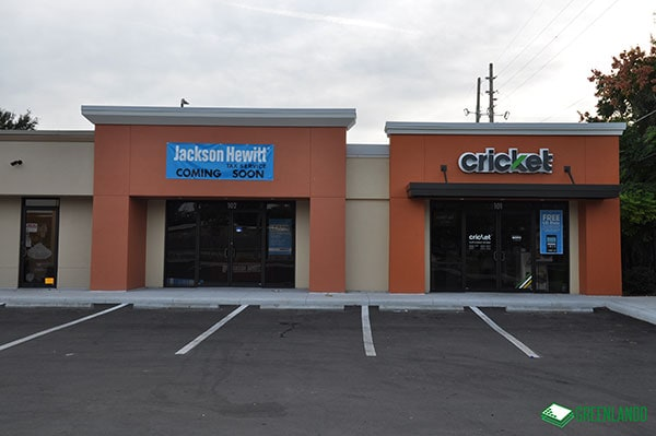 Exterior of Conway Retail After Renovation Showing Cricket Wireless and Jackson Hewitt