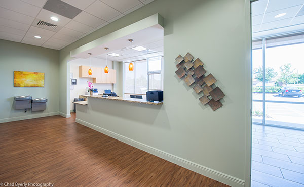 View of the Reception Desk at Sage Dental Oviedo