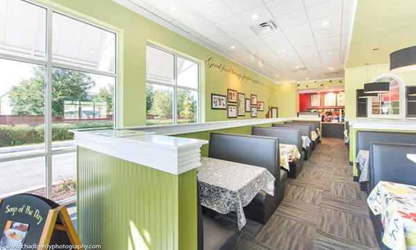 Booth Area at Chicken Salad Chick in Lake Nona