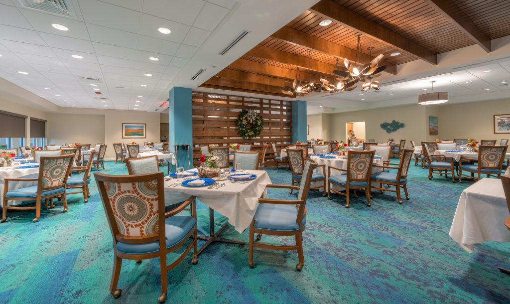 The Mayflower at Winter Park Dining Room Showing Dramatic Wood Suspended Ceiling and Wood Accent Dividing Walls