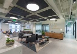 AGC was hired by Industrious out of New York City to provide design build services for this 24,000sf tenant interior project which is an premium coworking office concept.  AGC hired Baker Barrios to provide the  Architectural Design Services.  This project included the challenge of installing an extensive storefront glass package and the logistics associated with transporting materials through an underground loading dock to the 10th floor of a class A office building.  Industrious  is located on the 10th Floor of the Lincoln Plaza in the heart of the downtown class A office core business district.